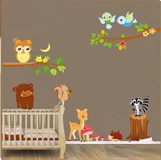 Autocollant mural animaux de la forêt. Adorable sticker mural animaux. Autocollant pour la chambre d'un enfant. Papiers pe...