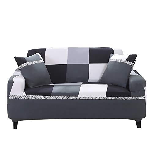 WONGS BEDDING Sofabezug Sofa Überwürfe Elastische Stretch Sofa Abdeckung Sofahusse Sofaüberzug Sofabezug Geometrische Muster Couchhusse Antirutsch Weich Stoff für Sofa Couch(2 Sitzer 145-185cm)