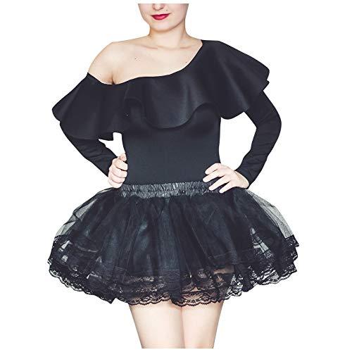 Falda para mujer y nia de 4 capas, enagua de los aos 50, estilo retro Negro 40