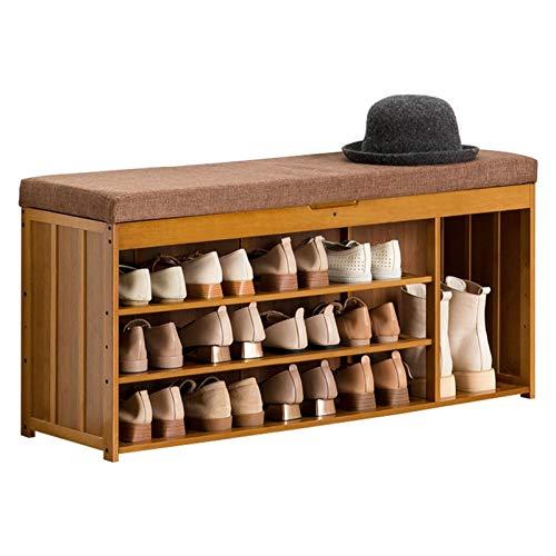 WHOJA Zapatero Taburete Cambiador de Zapatos de bambú Cojín de Concha Almacenamiento Multifuncional Diseño de pensión Completa Capacidad de Carga 150 kg para Sala de Estar, Entrada Estantería