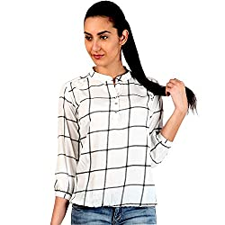 Mallory Winston Window Pane Womens Balloon Top