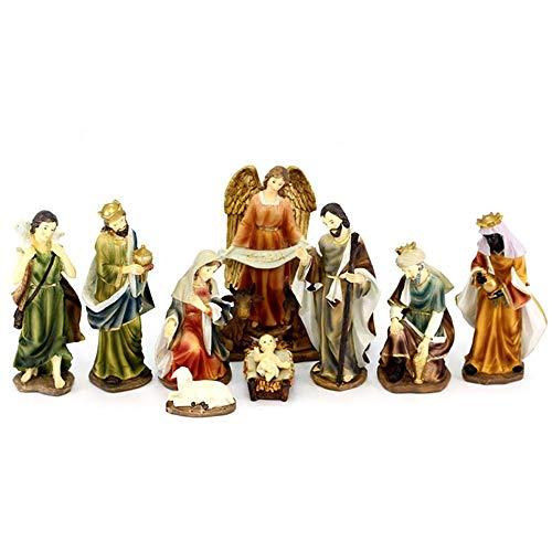 Presepe Natività Elegante con 11 soggetti Fino a 20 cm Personaggi Statue in PoliResina Natività Grande Giuseppe Maria Gesù Bambino, Re Magi, Bue e Asinello, Angelo, Pastore con Pecora