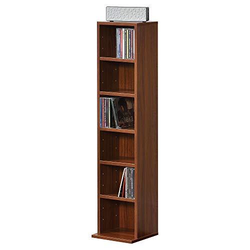 [en.casa] Scaffalatura per CD 90 x 20 x 20 cm Sistema di archiviazione per Dvd Libreria 6 Mensole Effetto Noce