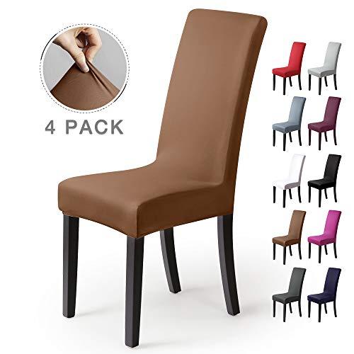 Stuhlhussen 4Stück,Stretch-Stuhlbezug elastische moderne Husse Elasthan Stretchhusse Stuhlbezug Stuhlüberzug.bi-elastic Spannbezug,sehr pflegeleicht und langlebig Universal-(4 StückSilber-Beige-stein)