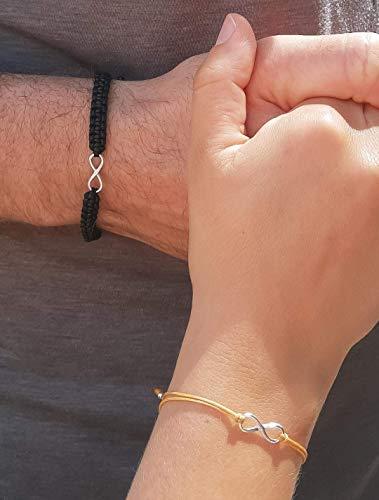Partner Armband mit Infinity/Unendlichkeit Symbol, Infinity Partnerarmband, 925 Sterling Silber, weitere Farben, handmade, individuell kombinierbar