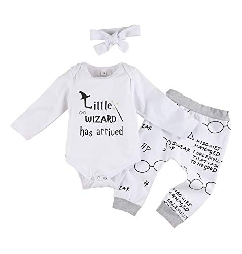 Ropa de bebé niño niña acurrucarse Este Muggle de Manga Larga 3 Piezas Trajes Mameluco pantalón Sombrero, Traje de Manga Larga