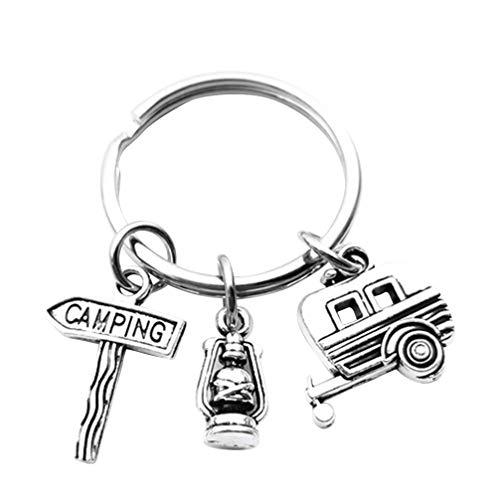 Amosfun 2 Stück Camping Schlüsselbund Glücklich Camper Schlüsselring Petroleumlampe Schlüsselring Camping Geschenke für Outdoor-Abenteuer Reisende Schlüsselzubehör