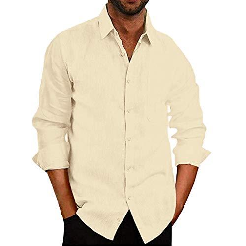 Chemise FNKDOR Homme T-Shirts Bouffant Mélange de Coton Poche Hauts Solide Manche Longue Rétro Tops Blouse(Jaune,S)