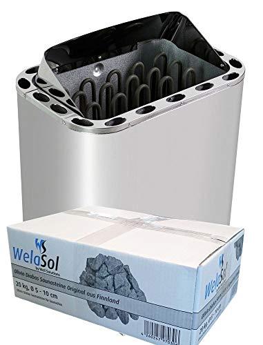 WelaSol Edelstahl Saunaofen Next von 4,5 kW | für finnische Sauna von 3-6m³ | geeignet für externe Steuerung bis 9 kW d.h. ohne integrierter Steuerung | mit WelaSol Saunasteine
