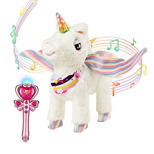 ZhanXiang Einhorn Plüsch Elektronisches Haustier Spielzeug,Zauberstab Fernbedienung Haustier Spielzeug, farbiges, gehen,Licht Musikwiedergabe für Mädchen von 3-8 Jahren