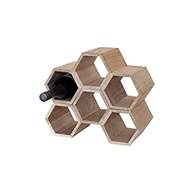 Aupa 6 Bottle Wooden Honeycomb Wine Rack - Free Standing Stackable Design for Kitchen or Countertop.