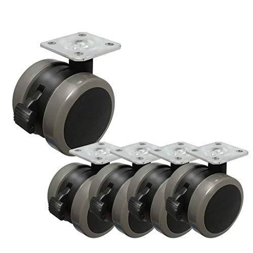 Caster, Heavy Duty, stuurwiel, wieltrolley, wieltjes, meubel Caster, 5 x PU-reservewielen met remmen Brake