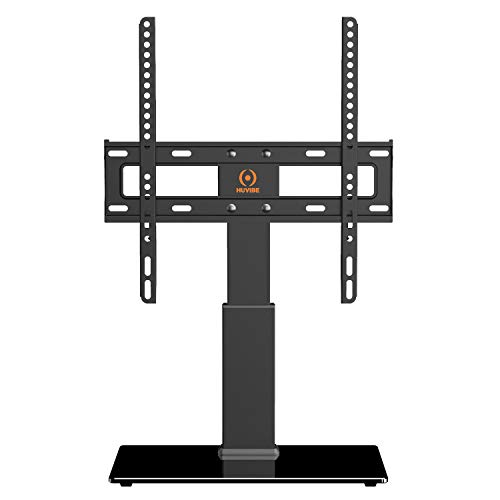HUVIBE Universal TV Stand Base Tabletop Swivel TV Stand with Mount for Most 32 to 55 inch Flat Screens, Tilt, Level and Height Adjustable with Tempered Glass, Hold up to 88lbs Screens