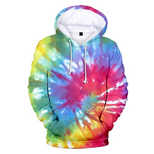 Men and Women Tie-Dye 3D Printed Hoodies, Casual Loose Pullovers, Pictures Can be Customized