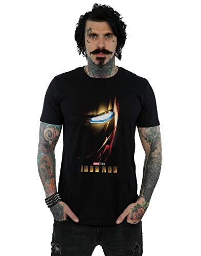 Marvel Studios Hombre Iron Man Poster Camiseta Negro Large