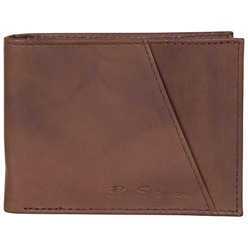 Ben Sherman Men's Manchester Bifold Full-Grain Leather RFID Minimalist Gift Box, Marble Brown Wallet, Slim Wallet