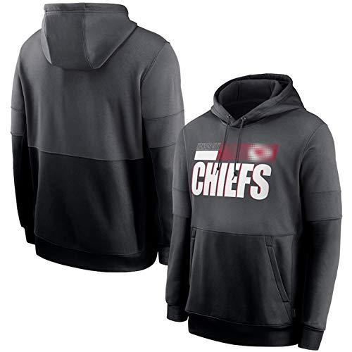 ZGRW 2021 Chiefs Männer Rugby Hoodie, Lose Känguru Pullover Pullover Hoodie, Sportjacke Sweatshirt Tops American Football Wettbewerb Trikots Grey-L
