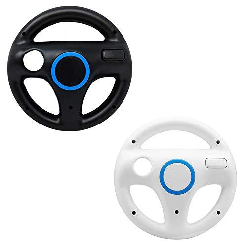 Mario Kart Wii Steering Wheels, ZOTAIN 2 Pack Mario Kart Wii Racing Wheels Compatible with Nintendo Wii, Wii U Racing Games (Black/White)