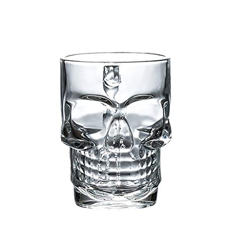 ZCX Lead-Free Glass/Skull Shape/with Handle/Personality/Creative/Large/Beer Mug/Drink Cup Cup & Saucer Sets (Size : One Piece)