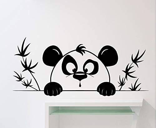 hetingyue Leuke grappige kleine pandakoppatroon muurstickers met leuke decoratieve vinylmuurstickers slaapkamer van bamboessilhouet