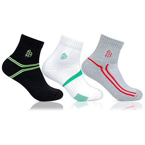 Bonjour Men's Multicolour Sports grip & Net-top Ankle Socks- Pack of 3