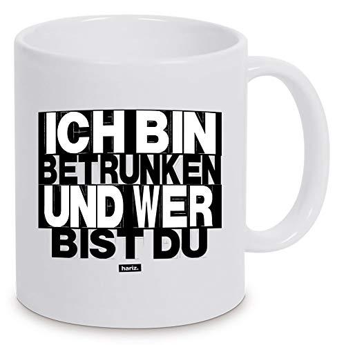 """Taza blanca con texto """"Ich Bin Betrunken und Wer Bist Du Witziger Spruch blanco, talla única"""