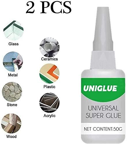 2 Stück Uniglue Universal Superkleber Starker Kunststoffkleber, für hochwertige, genaue Reparaturen, Keramikharz Metallglas