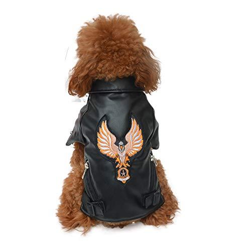 lovelonglong Hundelederjacke, Luxus Winter Hund Warmer Mantel mit weichem Baumwollfutter und Adler Muster, Wasserdicht Atmungsaktive Jacke für Kleine Mittelgroße Große Hunde Black L