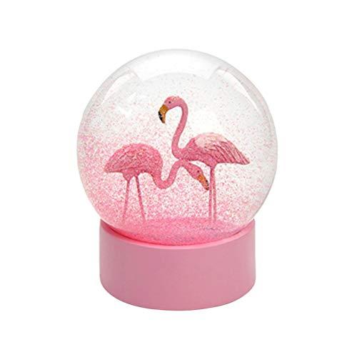 Globos de neve flamingos românticos vosareia bola de cristal para casa artesanato de mesa (rosa)