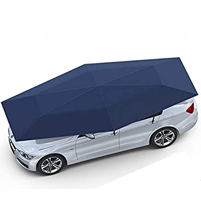 "Senllen Car Tent Fully Automatic 189"" Large Size Hot Summer Anti-UV Wireless Control Vehicle Umbrella with Removable Charger, Windproof Carport for SUV Truck"