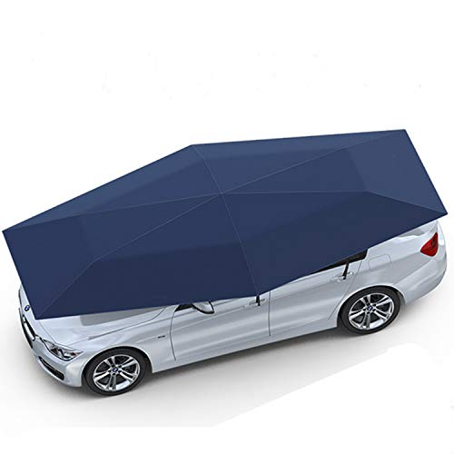 "SUNMOOH Car Tent Fully Automatic 189"" Large Size Hot Summer Anti-UV Wireless Control Vehicle Umbrella with Removable Charger, Windproof Carport Canopy Sun Shade for SUV,Minivan,Truck (Portable, Blue)"