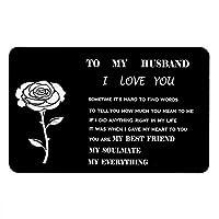 財布 インサートカード メンズ メタルウォレット カードインサート ミニラブノート 記念日カード 夫のボーイフレンドカード Y1135, To my husband/ブラック, M
