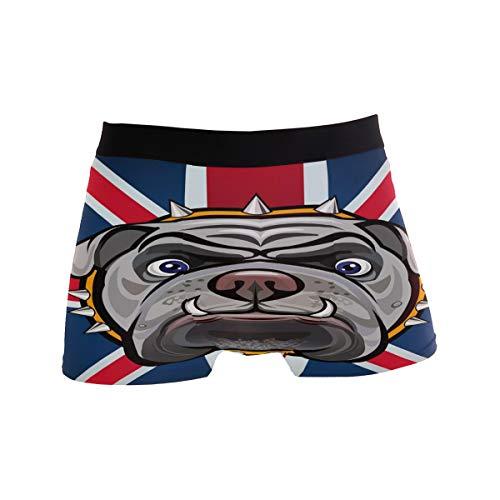 ZZKKO Herren Boxershorts Britische Flagge Bulldogge Atmungsaktiv Stretch Boxershorts mit Tasche S-XL Gr. M, blau