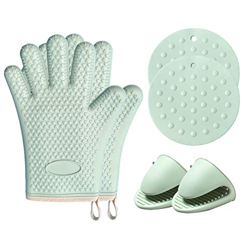 Oven Mitts and Pot Holders Sets,550 ℉ Heat Resistant Silicone Oven Mitts,Mini Oven Gloves and Pot Holders for Kitchen Baking Cooking BBQ,6 Pcs