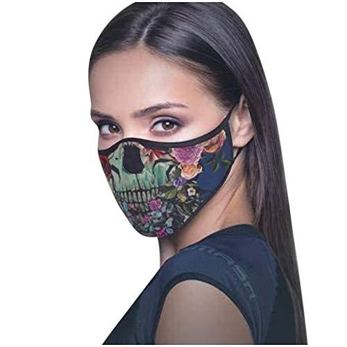 Supertong Unisex Erwachsene Weich Baumwolle Gesichtsschutz Wiederverwendbar Waschbar Mundschutz Mode Coole Drucken Staubdicht Face Shield für Outdoor Radfahren (A)