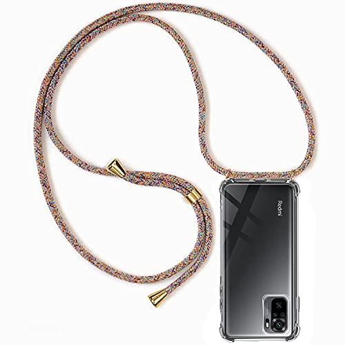 Handykette Hülle kompatibel mit Xiaomi Redmi Note 10 4G / Redmi Note 10S, Handyhülle Handy Necklace Hülle mit Band Schutzhülle Kordel zum Umhängen Transparent Weich TPU Silikon Tasche, Rainbow