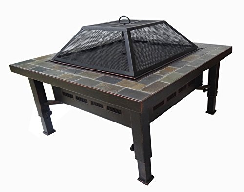 34-Inch Adjustable Square Slate Top Backyard Fire Pit with Spark Screen by Global Outdoors