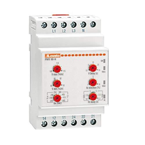 Relé de protección voltimétrico trifásico, con o sin neutro, multifunción, mínima/máxima frecuencia, tensión mínima/máxima 240V AC, 5,35 x 5,9 x 9,5 centímetros, color blanco (Referencia: PMV80NA240)