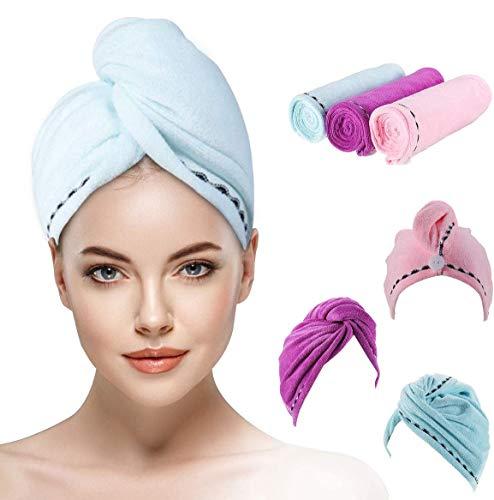 OUTERDO Haartuch mikrofaser, Haartuch trocknen schnell 3 pcs, Handtuch für haare Schnelltrocknend, Haartrockentuchmit Knopf saugfähig Super Absorbent, Haar Trocknendes Tuch für Alle Haartypen