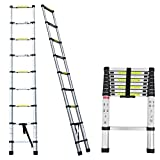 Multi-Purpose Aluminium Telescopic Ladder Portable Foldable Ladder Extension Extend Ladder, 2.6M