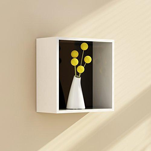 Étagères murales TV fond mur cintres étagères étagères cadres carrés décoratifs L * H: 32 * 32 cm ( Couleur : Inner black )