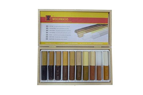 20 Stck. Weichwachs im Holzkasten für die Reparatur von Holz, Laminat, Parkett und mehr