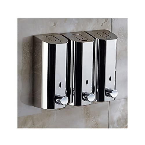 HMEI dispensador de loción Dispensador de jabón Manual Montaje en Pared Gel de Ducha Dispensador de líquido Bomba de Acero Inoxidable Dispensador de loción para baño Cocina (Color : 3Chamber)