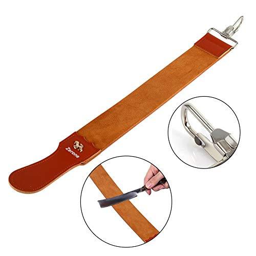 Straight Razor Strops,Genuine Leather Strop Strap Barber Straight Razor Folding Knife Shave Sharpener Sharpening Belt for Barber Hair Removal Straight Razor