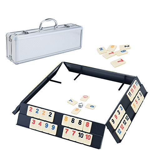 Ksamor Rummy Game Set  Colored Rummy Game with Durable Tiles and Trays Well Painted Rummy Cube 106 Tiles with Aluminum Case for Kids and Families