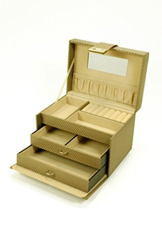 Joyero Neceser Organizador Decorativo con Espejo de Polipiel en Color Beige . Cajas Multiusos. Joyeros.Regalos y Complementos. 18 x 15 x 16 cm.