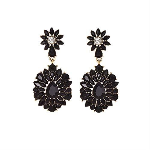Regalos Pendientes Flor Pendientes de cristal para clásico Negro Blanco Pendientes largos de borla para mujer Bodanegro