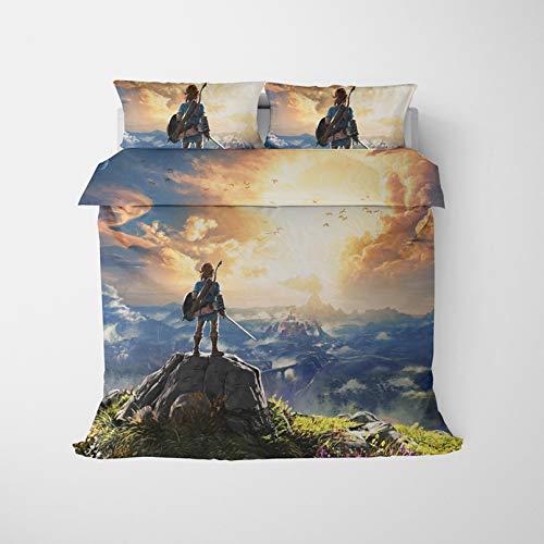 Batte The Legend of Zelda - Juego de funda de edredón de microfibra suave con fundas de almohada, impresión digital 3D de 2/3 piezas de ropa de cama para adultos adolescentes y niños (135 x 200 cm)