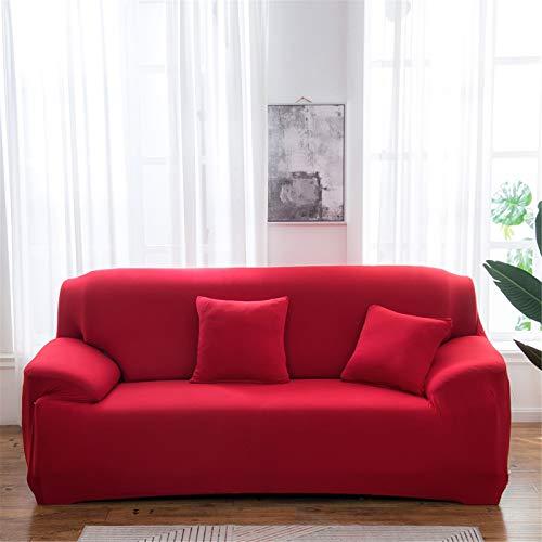 XJHKG Funda De Sofá, Universal High Stretch Elástica Cubierta para Sofá Chaise Longue Protector para Sofá con Cuerda De Fijación (Carmesí,2 Plazas)