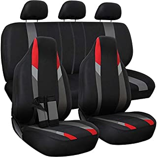 Motorup America Auto Seat Cover Full Set - Fits Select Vehicles Car Truck Van SUV - Newly Designed Mesh - Red